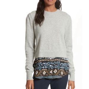 Veronica Beard Jensen Puff Sleeve Combo Sweater